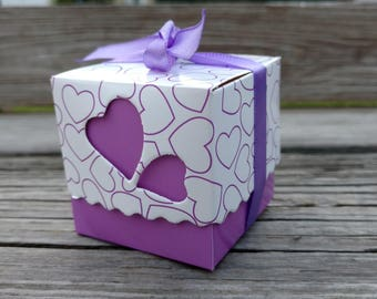 Baby Girl Shower Favor Boxes, Baby Girl Purple Pink Favor Box, FREE Ribbons!