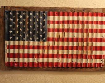 USA! Repurposed Corrugated Metal USA Flag on Barnwood Frame