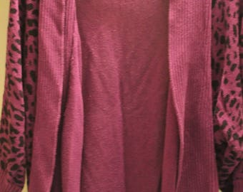 3/4 SLEEVE ANIMAL PRINT Purple Cardigan M/L (Medium/Large)