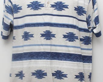 "Rare 90's Vintage ""RUFF HEWN"" Abstract Patterned Polo Shirt Sz: LARGE (Men's Exclusive)"