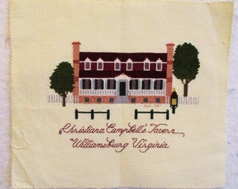 Christiana Campbell's Tavern Williamsburg Completed Cross Stitch