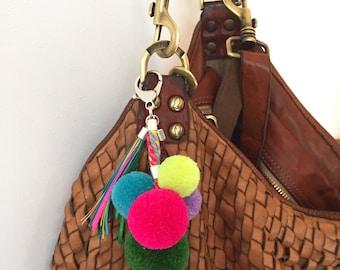 Pompon Pendant multicolor candy,bag charm pompon,key chain pompon, bag charm, multicolored charm
