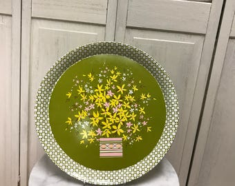 Vintage metal tray, spring tray, green with yellow pink and white flowers. round vintage tray