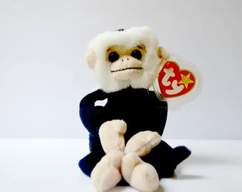 Ty Beanie Babies Mooch the Capuchin white face monkey 1998 Retired