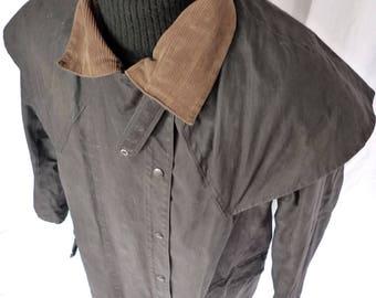Vintage TYPHOON New Zealand Cotton OILSKIN Rain Trench COAT Duster Jacket Backhouse