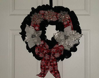 Black red and silver poinsettia wreath