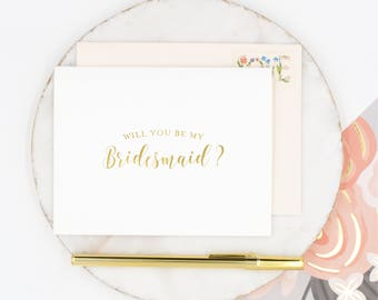 Gold Foil Bridesmaid Card, Will You Be My Bridesmaid Card, Bridesmaid Proposal Card, Wedding Party Card, Bridal Party Card