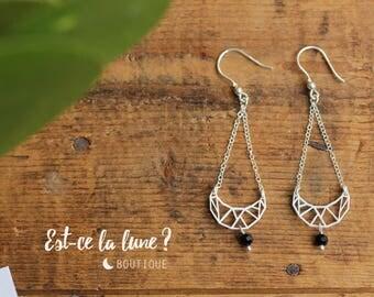 """SILVER 925 - Earrings / Earrings """"Geometric Moon & Crystal"""""""