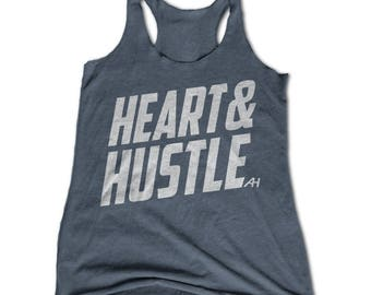 HEART & HUSTLE Womens Racerback Tank - Womens Workout Tank - Weight Lifting Tank - Running Tank Top - Crossfit - Hustle Hard