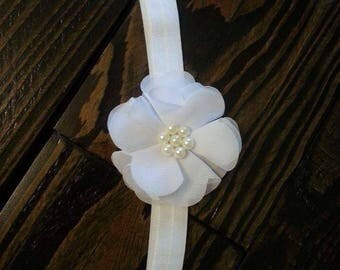 White Headband/Baby girl headband/elastic headband/pearls
