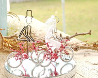 Wedding Cake Topper, Bicycle Wedding Cake Topper, Handmade Wedding Cake Topper, Red Mr and Mrs Mountain Bikes with Silver Wheels.
