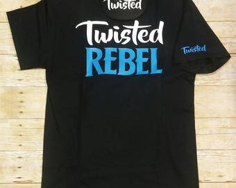 Twisted Rebel Black T shirt and hat combo Baby Blue
