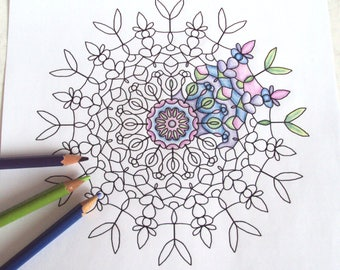 Mandala Adult Colouring Page 1 - PDF Printable Drawing - Abstract Floral Art 'Water Garden' - Instant Download