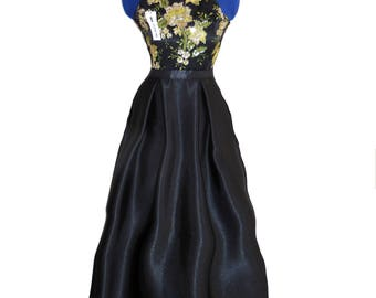Beautiful and unique PROM GOWN sleeveless completely handmade