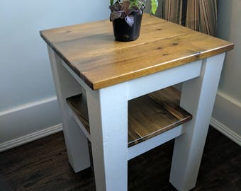 Modern Craftsman style reclaimed wood end table