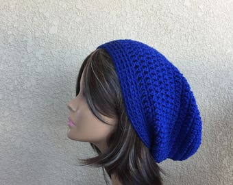Blue Slouchy Hat, Free Shipping, Slouchy Beanie, Teen or Adult Trendy Beanie, Boho Hat, Hipster Beanie, Baggy Hat,  Grunge Hat