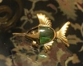Cute Little Vintage 1960's FISH Pin / UnSigned JELLY BELLY Pin / Swordfish Brooch