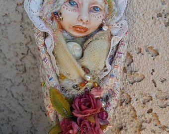 Shabby  Rose Spirit, Textile art doll, Assemblage Art Doll  OOAK, Yule tree topper