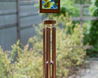 Stained Sea Glass Copper Cedar Wind Chime, Kaleidoscope Windchimes