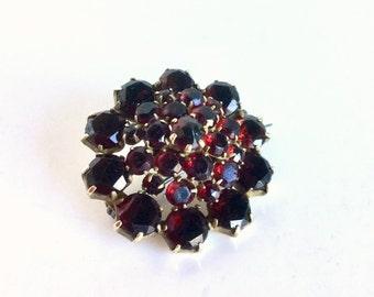 Vintage Garnet Gold Brooch, Deep Red Gemstones, 9k Gold, Antique Edwardian Victorian C-Clasp Pin, Flat Cut and Rose Cut, January Birthstone