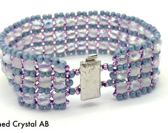 KIT: Flintstone Bracelet, Etched Crystal AB, Blue, and Purple, Beading Kit