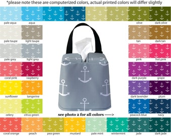 Auto Sneeze Box - Anchors - PICK YOUR COLOR - Car Accessory Automobile Caddy Tissue Case Nautical