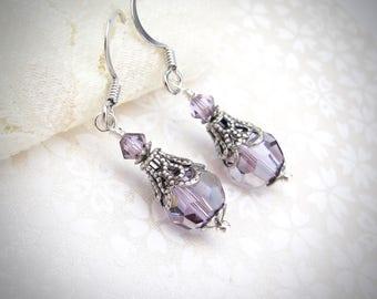 Amethyst Swarovski Crystal Earrings, Vintage Design, Dangle Drop Petite Victorian Look, Gift for Mom Sister, Purple Wedding Bridal