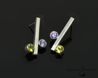 Green Peridot and Purple CZ Chic Sterling Silver Bar Earrings