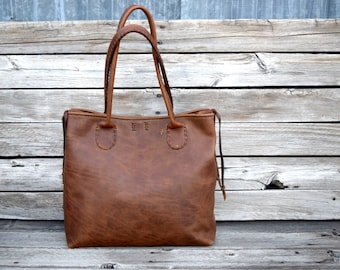 Large Russet Brown Leather Tote Bag / Hand stitched leather Bag / Laptop Tote / Everyday Leather Tote / feralempire.etsy.com