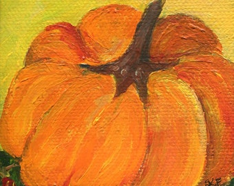 Small pumpkin mini canvas art, Original little canvas, Easel 3 x 3 miniature painting pumpkin, kitchen decor, acrylic painting canvas art