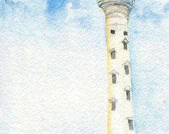 Aruba Lighthouse original watercolor painting, 4 x 6 California Lighthouse in Aruba