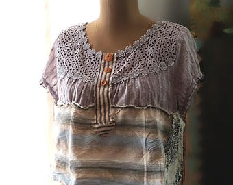 Grey Skies Top, Hand Stitched, Crop Top, Blue, Lace, Stripes, Wooden Buttons, Ticking Fabric, Raw Edges, Rustic, Boho, Casual Clothing