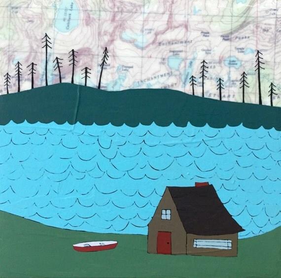 Tranquil Lake / 8 x 8 Map Painting / Cabin Art / Map Art / Modern Decor / Wedding Art / Modern Nursery / Nursery Art / Lake Art