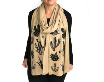 Tan Long Jersey Scarf with Cactus Screenprint