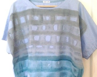 Kimono top size 14 : Hazy Days Blue Chambray Hand Painted Cotton Top One Off