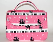 Piano Cats Handbag - Cat Purse, 50s Style Purse, Music Fabric, Black Cats, Vintage Inspired, Rockabilly Purse, Top Handle Bag, Kokka Fabric