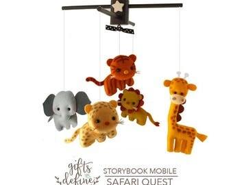 Free US Shipping, SAFARI Jungle Fun Animals Musical Baby Mobile,  Safari Zoo Theme, Hanging Crib Mobile, Modern Nursery, Kids Playroom Decor