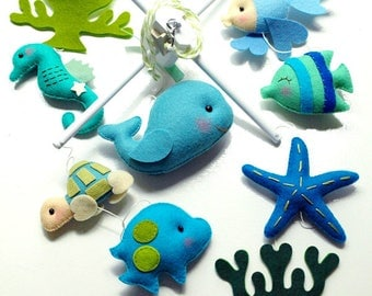 Free US Ship Musical Baby Mobile OCEANOGRAPHY Under the Sea Fish, Custom Mobile for Crib Nursery, Modern Nautical, Ocean Maritime theme