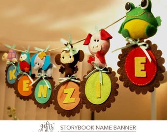 Free US Ship Custom Personalized Animal Parade NAME BANNERAMA, Name or Event Banner, Creative Decor for Baby Nursery, Kids Playroom or Party