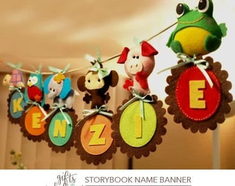 Custom Personalized Animal Parade NAME BANNERAMA  - Wall Art Name or Event Banner, Creative Room Adornment, Nursery Decor, Party Decoration