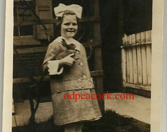 Little girl vintage photo toy rabbit bunny hare bow smiling dress Edwardian Evelyn