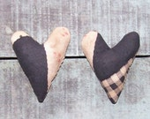 2 Rustic Hearts Ornament, Antique Quilt Top, Farmhouse Decor, Black White Faded Red - READY TO SHIP