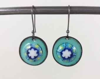 Round Millefiori Flower Dangle Earrings with Robins Egg Blue Enamel, 1.5 Inch Long Dangle Enamel Earrings with Gunmetal Earwires