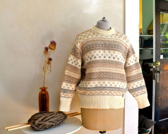 Vintage Wool Sweater 1980s Style Danish Label Runox Scandinavian Natural Color Shades