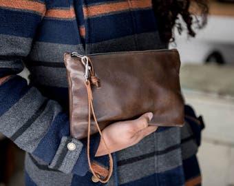 Brown Leather Zipper Clutch/ Leather Clutch Bag/ Leather Bag/ Travel Organizer/ Cord Organizer/ Leather Wristlet