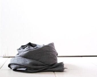 LINEN SCARF / grey scarf / handmade in australia / pamelatang