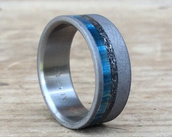 Titanium Ring, Meteorite Ring, Wood Ring, Blue Ring, Custom Made Ring, Wedding Ring, Wedding Band, Mens Ring, Womens Ring, Engagement Ring