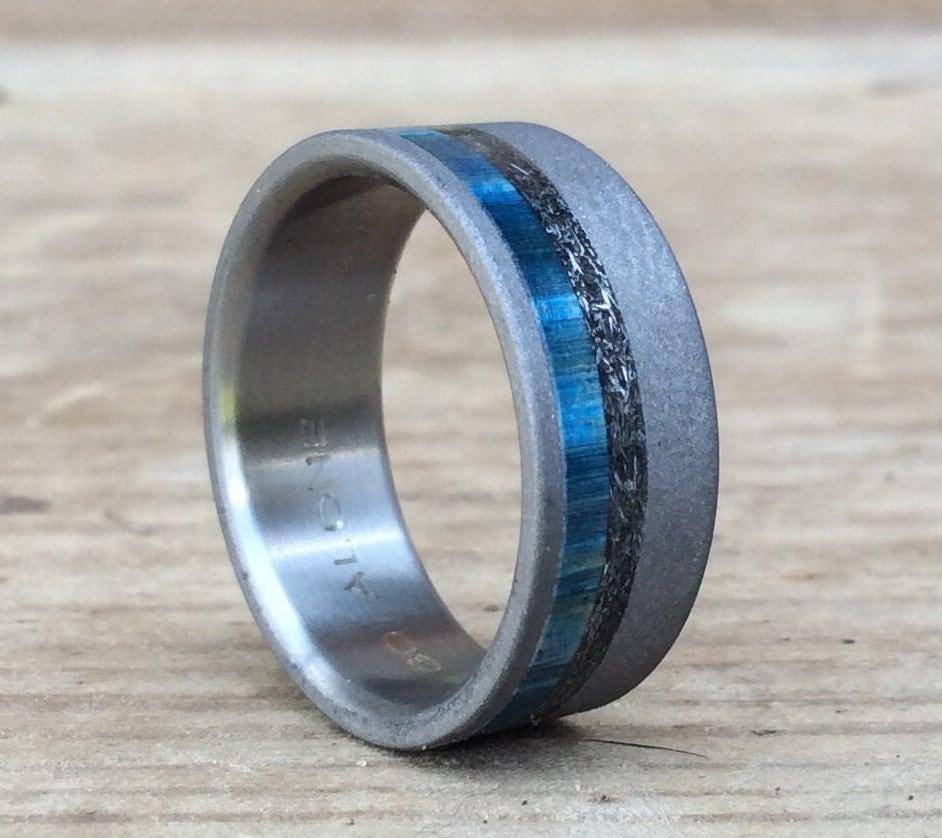 titanium ring meteorite ring wood ring blue ring custom