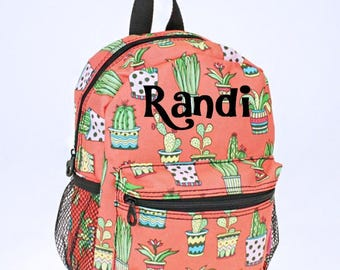 Personalized Backpack - Cactus Backpack -Girl Toddler Backpack - Daycare Backpack-Nursery Backpack - Toddler Diaper Bag Embroidered Backpack