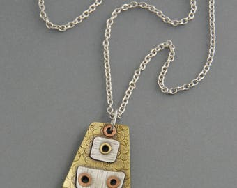 Mixed Metal pendant, riveted, cold connections, industrial, oxidized, hammered texture, rustic, steampunk, brass, copper, silver, metalwork